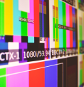 Test screen in a television production studio