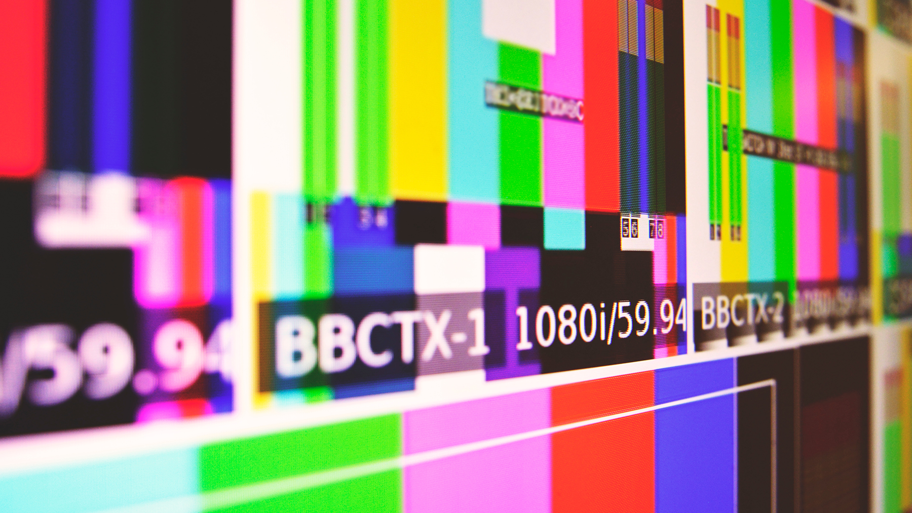 Test screen at a television studio