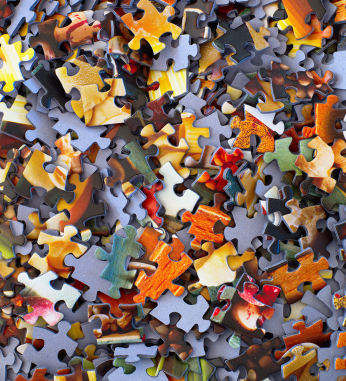 Puzzle pieces in a pile