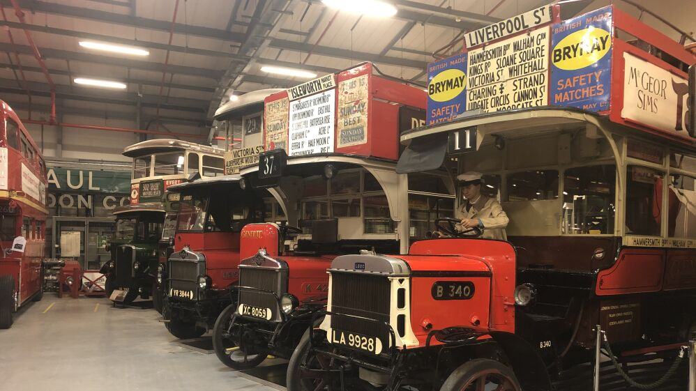 The bus shed at the London Transport Museum