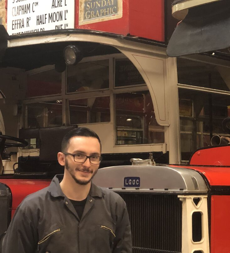 Alex, a Curational Technician at the London Transport Museum