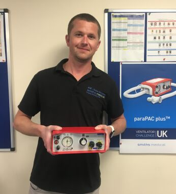 Jamie from Smiths, with one of the ventilators he has helped to create