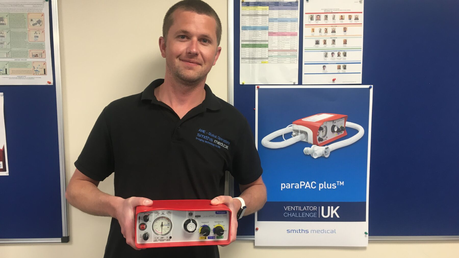 Jamie with one of the ventilators he helped to create