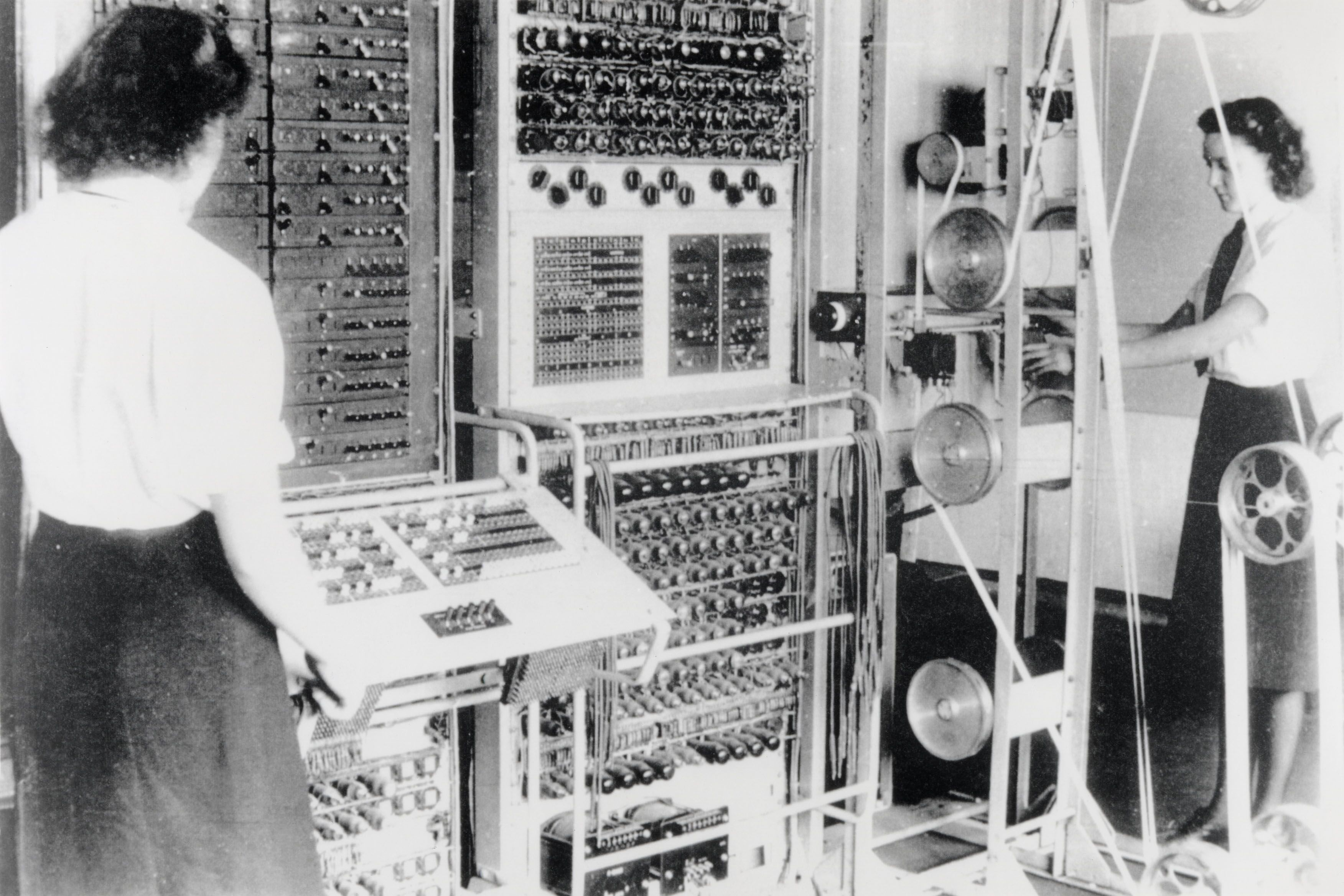 Joanna with Colossus - the world's first electronic computer
