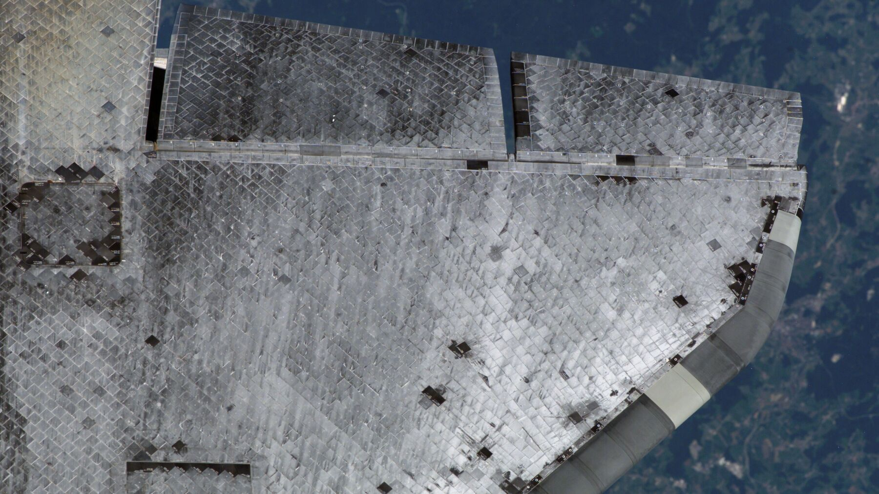 Underside of the Space Shuttle's wing